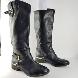 justfab black boots with gold hardware size 7